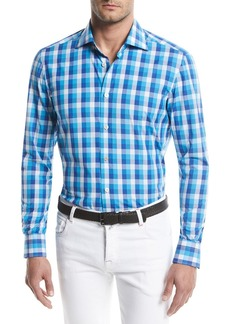 Kiton Large-Check Cotton Sport Shirt