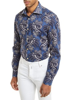 Kiton Large Paisley-Print Long-Sleeve Shirt