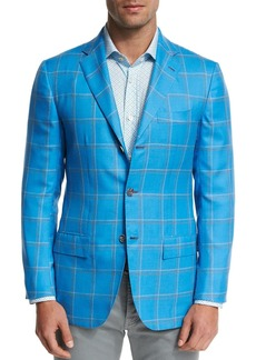 Kiton Large Plaid Three-Button Sport Coat