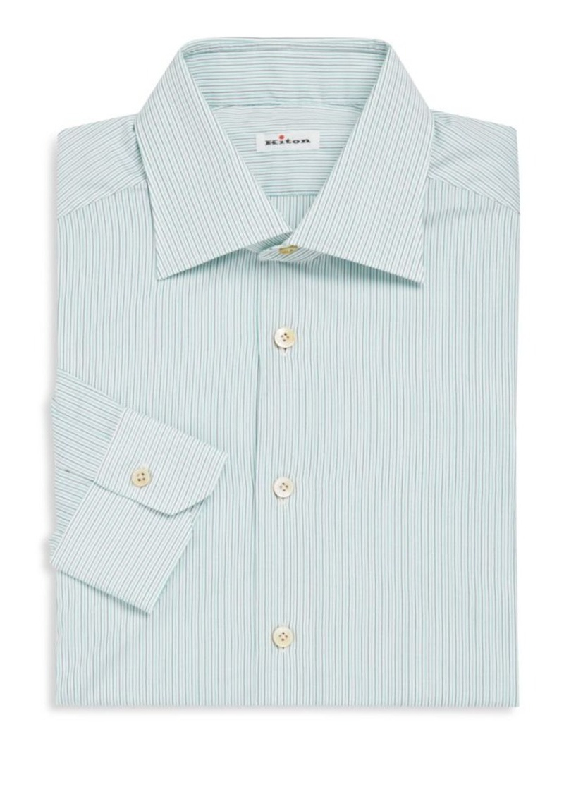 Kiton Long Sleeve Striped Dress Shirt