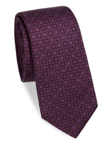 Kiton Love Medallion-Print Silk Tie