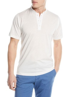 Kiton Mandarin-Collar Cotton T-Shirt