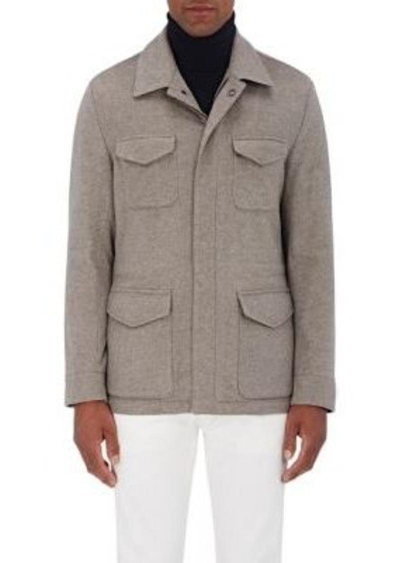 Kiton Men's Brushed Cashmere Melton Safari Jacket
