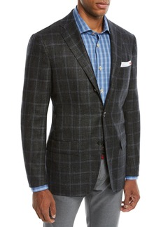 Kiton Men's Cashmere Triblend Windowpane Three-Button Sport Coat