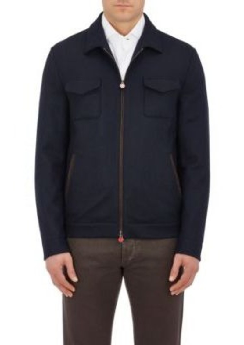 Kiton Men's Cashmere Zip-Front Jacket-NAVY Size L