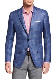 Kiton Men's Cashmere/Linen Plaid Sport Coat