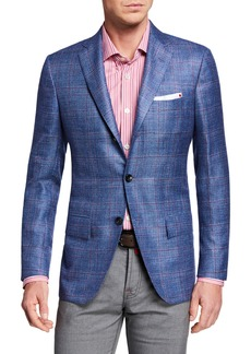 Kiton Men's Cashmere/Linen Plaid Sport Coat
