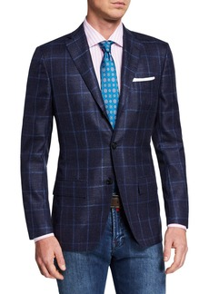 Kiton Men's Cashmere/Silk Windowpane Sport Coat