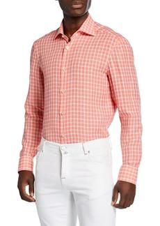 Kiton Men's Check Cotton Sport Shirt