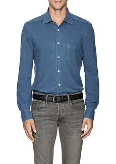 Kiton Men's Denim-Effect Cotton-Blend Piqué Shirt