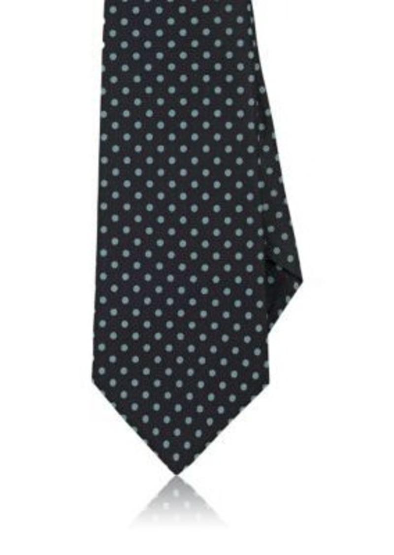 Kiton Men's Dotted Silk Necktie-NAVY