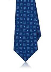Kiton Men's Floral-Medallion-Print Silk Tie