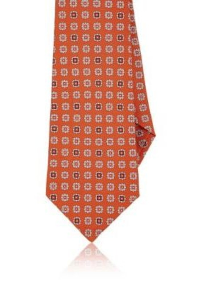 Kiton Men's Floral-Medallion Silk Necktie-Orange