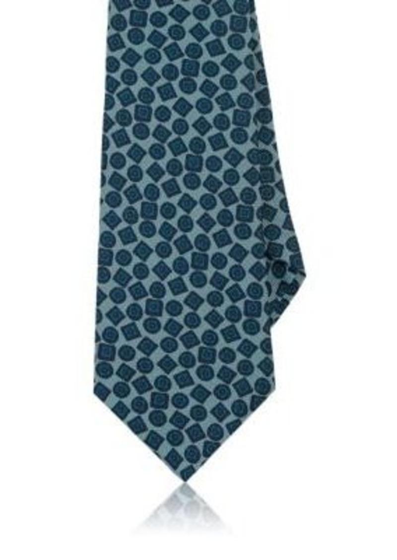 Kiton Men's Geometric-Pattern Woven Silk Necktie