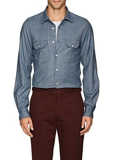 Kiton Men's Herringbone Wool Shirt