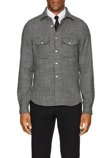 Kiton Men's Houndstooth Wool-Silk Shirt Jacket