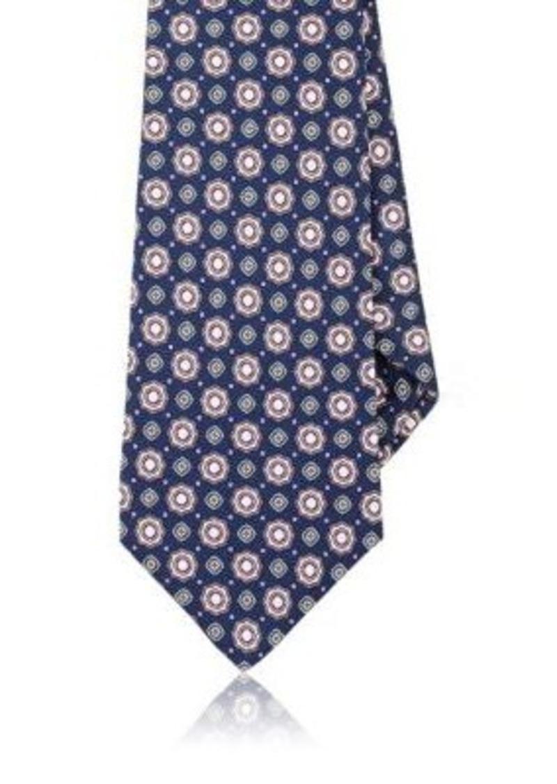 Kiton Men's Medallion Silk Faille Necktie-NAVY, PINK