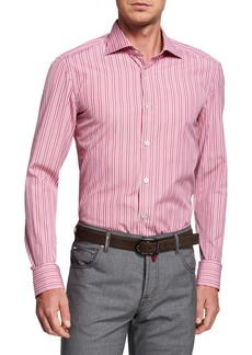 Kiton Men's Multi-Stripe Dress Shirt