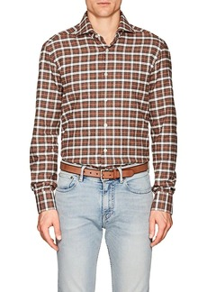 Kiton Men's Plaid Cotton Flannel Shirt