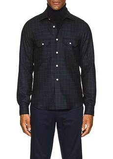 Kiton Men's Plaid Wool-Cashmere Shirt Jacket