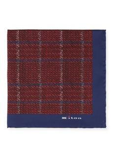 Kiton Men's Silk Windowpane Pocket Square