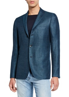 Kiton Men's Textured Cashmere-Blend Three-Button Jacket