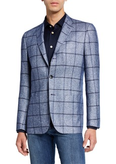 Kiton Men's Windowpane Silk/Cashmere Three-Button Jacket
