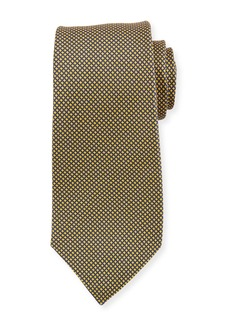 Kiton Micro Houndstooth Silk Tie  Yellow