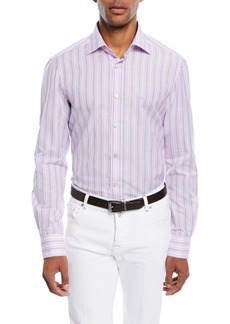Kiton Multi-Stripe Cotton/Linen Sport Shirt