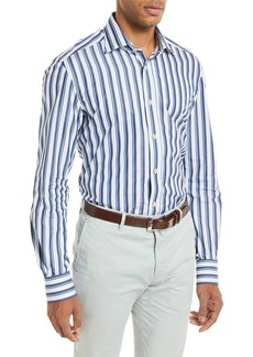 Kiton Multi-Stripe Long-Sleeve Shirt  Blue