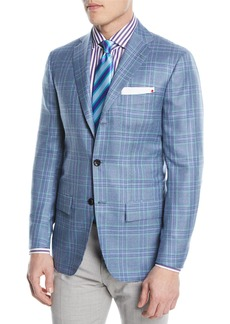 Kiton Plaid Cashmere-Blend Two-Button Sport Coat