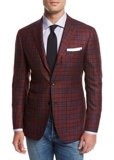 Kiton Plaid Cashmere-Silk-Linen Sport Coat