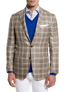 Kiton Plaid Cashmere-Silk Three-Button Sport Coat  Tan/Creme