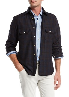 Kiton Plaid Wool-Cashmere Overshirt