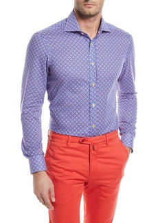Kiton Rings-Print Cotton Sport Shirt