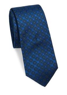 Kiton Shiny Medallion Embroidered Silk Tie