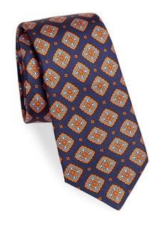 Kiton Silk Square Medallion-Print Tie