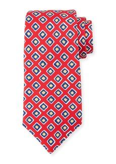 Kiton Square-Print Silk Tie