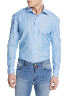 Kiton Striped Cotton/Linen Sport Shirt