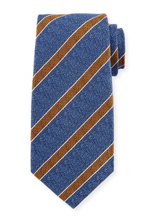 Kiton Textured Medium Stripe Silk Tie  Blue