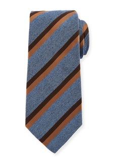 Kiton Two-Color Stripe Silk Tie  Blue