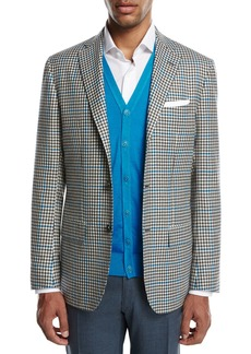 Kiton Two-Tone Check Cashmere Sport Coat  White/Black/Blue