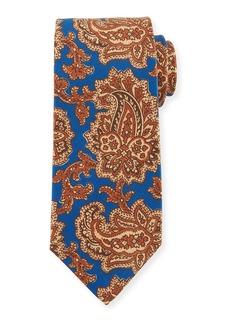 Kiton Vibrant Paisley Silk Tie  Blue