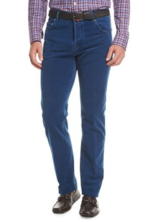 Kiton Washed Velvet Straight-Leg Pants