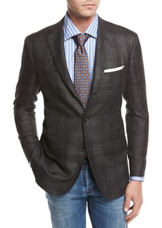 Kiton Windowpane Cashmere-Silk-Linen Sport Coat