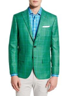 Kiton Windowpane Cashmere-Silk Three-Button Sport Coat