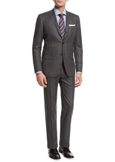 Kiton Windowpane Tic Wool Two-Piece Suit