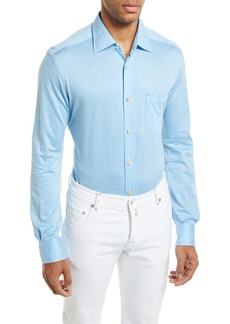 Kiton Woven Long-Sleeve Knit Shirt  Light Blue
