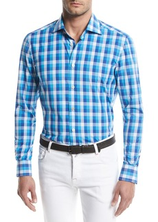 Kiton Large-Check Cotton Sport Shirt