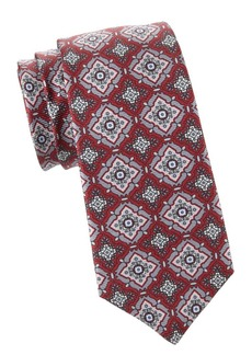 Kiton Large Medallion Print Silk Tie